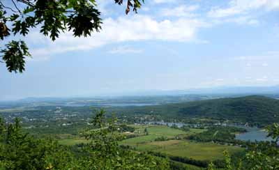 View of Lake George, Ticonderoga New York, and Lake Champlain.